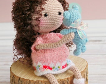 Crochet doll Personalized girl gift Organic baby doll Gift for daughter Art doll Baby Shower Gift Birthday girl gift Amigurumi custom doll