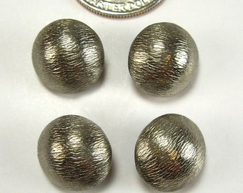 Vintage Shank Buttons, Small, Textured, Silver Metal,  15mm, Set of 5