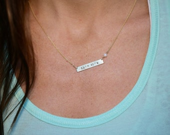 GPS Coordinates Bar & Stone Necklace, Sterling Silver, 14kt Gold Fill, Latitude Longitude Necklace, Locations Jewelry