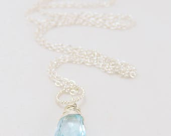 Swiss blue topaz and sterling silver wire wrapped, gemstone pendant necklace, December birthstone