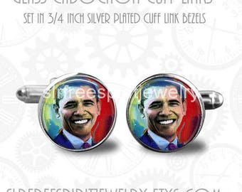 Obama Cuff Links, President Obama Cuff links, Obama gift, Gift for Men, French Cuffs, Silver Cuff links, Cabochon Cuff links, Famous people