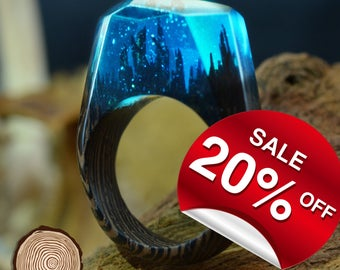 Dreamy Forest ( Handmade Wooden Resin Ring. Wood Resin Ring.  Wood jewelry. with Magnificent Tiny Fantasy Landscape )