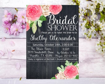 Bridal Shower rose and black wood background Baby Shower invitation invite elegant simple country farm flowers roses pink white Bride mom