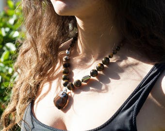 Beaded Tiger's Eye Necklace w/ Glass Pendant