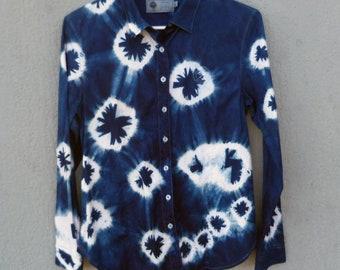 Indigo Dyed Shibori Shirt
