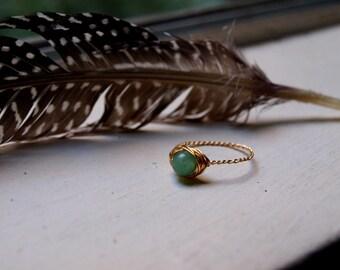 Aventurine Ring for Men, Green Crystal Ring, Rings for Men Celtic, Ring for Best Friend, Aventurine Jewelry Ring, Heart Chakra Ring for Mom