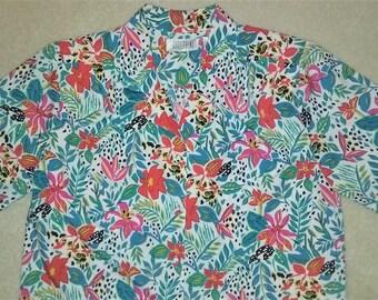 Vintage Bright Tropical Floral Print Button Front Top Size 14