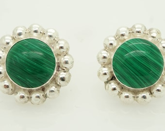 Solid Vintage TD-82 Mexico Sterling Silver/925 Green Malachite Stud Earrings