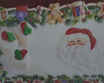 Cheerful Holiday Tray Dimensional Santa Christmas Red and White Ceramic Dish. Use for Petite Fours, Candy, Crudite, Yule Log or Ornaments