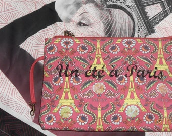 "Pouch cosmetic ""One summer in PARIS"" customized with 4 snaps PARIS"