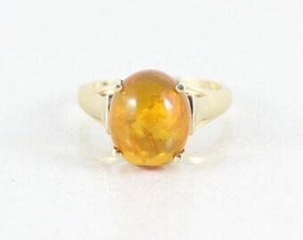 10k Yellow Gold Amber Ring Size 6 1/4