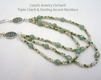 Newly Handcrafted Triple Strand Czech Glass Necklace with Sterling Accents. One of a Kind Jewelry. Fine Summer Bib Style Necklace in Green.