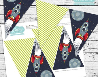 Retro Rockets & Robots Outer Space Mini Banner - INSTANT DOWNLOAD