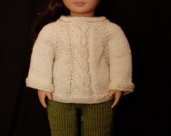 "Cabled Sweater and Pants Knitting Pattern for 18"" Dolls and Waldorf Dolls"