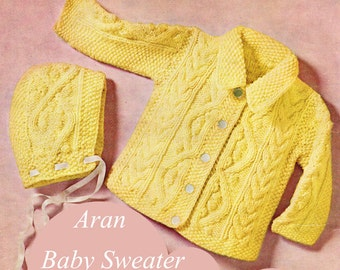 Baby Knitting Pattern, Aran Baby Sweater Knitting Pattern with Hat, New Baby Gift Idea, INSTANT Download Pattern PDF (2305)