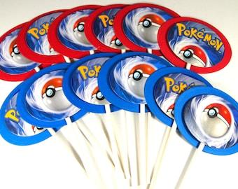 12 Upcycled Pokemon Cupcake Toppers - Pokemon Cake Topper - Pokemon Party - Pokemon Geburtstag Party - Pokemon gehen