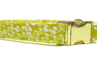 Yellow Raindrops Dog Collar | Your choice of metal buckle or plastic buckle | Yellow Dog Collar | Boy Dog Collar | Girl Dog Collar