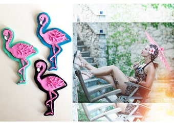 Pink Flamingo Tattoo Inspired Novelty Brooch, Rockabilly Rockabella Pin Up Mid Century Retro style Jewelry by Milushka