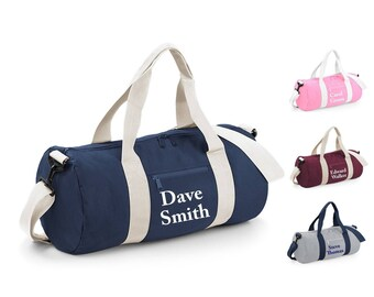 Personalised Custom NAME Barrel Bag, Sports Bag, Gym, Dance, Holdall, Weekend, Overnight Bag, Personalized, Yoga, Swimming, School