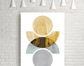 Geometric print, wall art, art prints, watercolour print, watercolor, geometric art, circles, art, modern, prints, yellow, Reflected circles