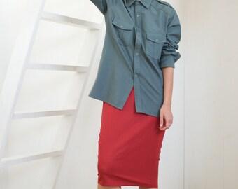 Women shirt, military style shirt, work shirt, button up shirt, vintage shirt, 80s top