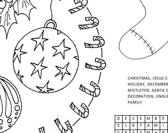CHRISTMAS activity sheet for kids coloring page Placemat