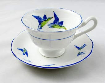 """Royal Albert """"Wild Birds"""" Tea Cup and Saucer with Blue Trimming, Vintage Bone China"""