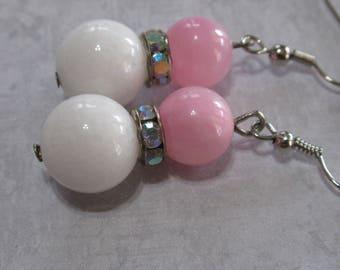 Pink earrings, pink stone earrings, pink and white , pink and white stone earrings