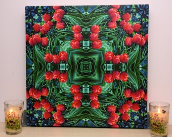 Mandala Wall Art - Wall Art - Abstract Floral Picture - Red Tulips - Talisman