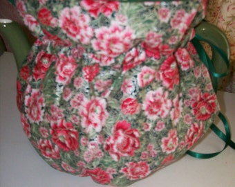 Green with red  Flower Tea Pot Cozy Insulated and Reversible