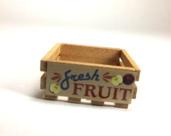 Miniature Fresh Fruit Wood Crate for Dollhouse or Dioramas