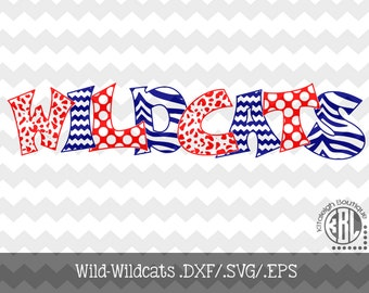 WILD Wildcats INSTANT DOWNLOAD in .dxf/.svg/.eps for use with programs such as Silhouette Studio and Cricut Design Space