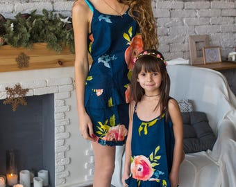Navy Blue Baby Mommy Matching Pjs, Mom and Me Pajamas, Floral pattern, Twinning, Mommy baby matching, Mini me