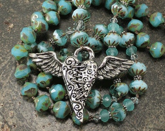 Winged Heart Jewelry Bohemian  Silver Blue Turquoise Winged Heart Necklace Valentine's Jewelry