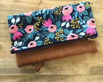 Navy Blue Floral Rifle Paper Co Canvas & Brown Faux Leather Foldover Clutch - Gift for her, Birthday, Anniversary, Bridesmaid