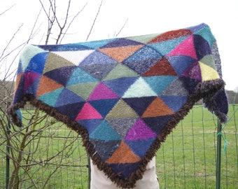 """Patchwork"" hand knit shawl"