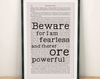 Frankenstein Quotes Book Page Art I Am Fearless And Therefore Powerful Print Frankenstein Artwork Book Lover Quote Small Art Print