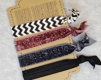 Creaseless Elastic Hair Ties, Hair Tie Bracelets, BridesMaid Gifts, Party Favors, Black and White Chevron, Rose Sparkle, Black  Set of 4