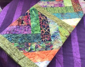 Quilt, batik baby quilt, handmade quilt, ready to ship, Hawaiian baby quilts, shower gift, lap quilt, Cotton quilt, Chevron, Green, Rust