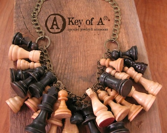 Table Games - Chess - Repurposed Wooden Chess Piece Statement Necklace - Earth Tones - King - Queen - Bishop - Rook - Knight - Pawn