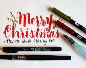 Ultimate Brush Lettering Supply Kit. Calligraphy Brush Pen. Great pens for hand lettering, drawing and calligraphy. Great Christmas Gift!