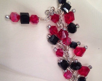 Geometric Charm bracelet, Black and red wrapped charm bracelet, crystal charm bracelet