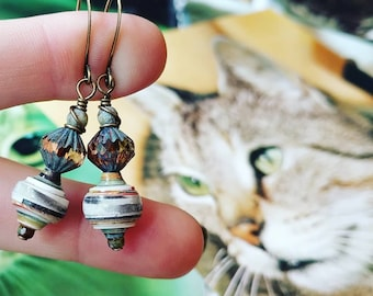 Vintage Kitty Cat Glam Book Paper Bead Earrings