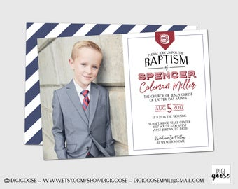 SAME DAY // LDS Baptism Invitation // Lds Boy Baptism Invitations // Baptism Announcement // Great to be eight // Boys Baptism Invitations