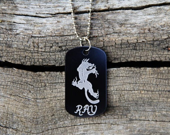 Personalized Aluminum Dog Tag Necklace - Panther