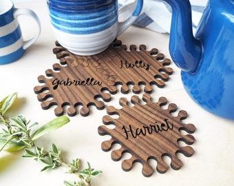 Hexagon Personalised Walnut Jigsaw Coasters, Mother's Day, typographic gift, interlocking coaster, 5 year anniversary, wood jigsaw coasters