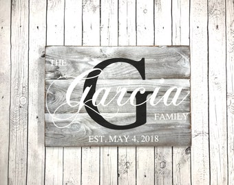 Rustic Family Home Sign - Last Name Sign - Family Name Sign - Family Established Sign - Wooden Family Sign - Rustic Wedding
