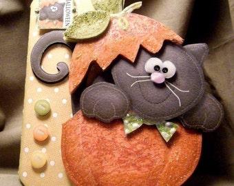 Handmade Greeting Card - 3D Cat in Pumpkin Halloween Card