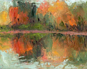 Original small oil painting landscape plein air thick paint fall New England  foliage autumn day November orange blue