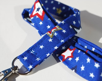 Keychain lanyard. White Red Stars pattern on a blue background lanyard. ID badge lanyard. Lobster Claw Clasp